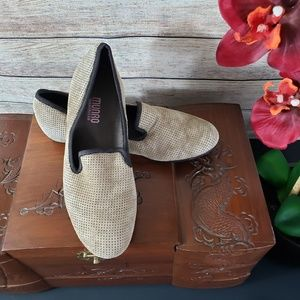 MUNRO Tan Perforated Suede Shoes with Gold Sheen